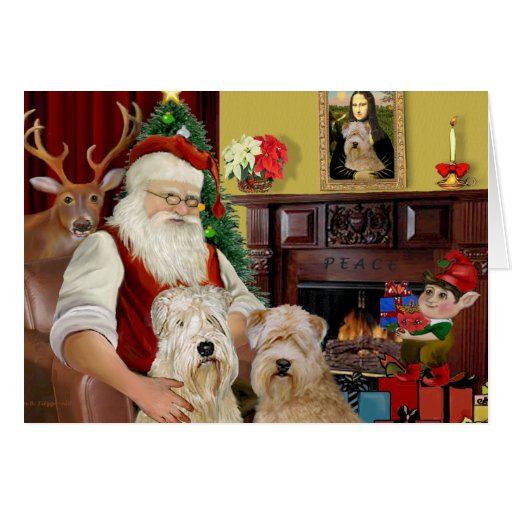 Santa's Wheaten Terriers (TWO) Cards