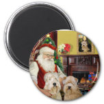 Santa's Wheaten Terriers (TWO) Refrigerator Magnet