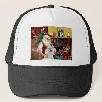 Santa's White Standard Poodle Trucker Hat