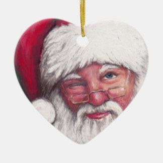 Santa's Wink art Ornament