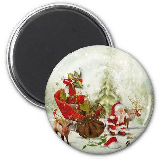 Santa's Woodland Stop -Reindeer & Sleigh Magnet