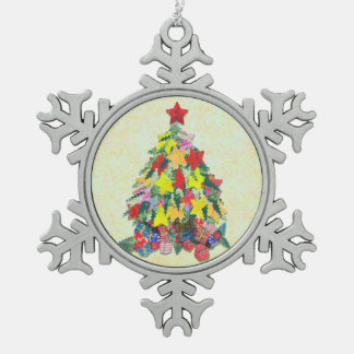 Santa's Work is Done Snowflake Pewter Christmas Ornament