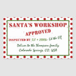 Santa's Workshop Approved & Inspected Gift Tag at Zazzle