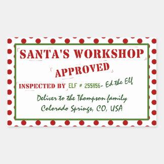 Santa's Workshop Approved & Inspected Gift Tag Rectangular Sticker