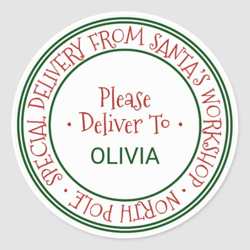 Santas Workshop Christmas Gift Classic Round Sticker