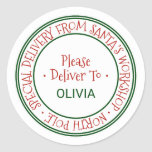"""Santa's Workshop Christmas Gift Classic Round Sticker<br><div class=""""desc"""">These santa's workshop christmas gift stickers are perfect for a kids holiday gift. The design features an official north pole seal with the words """"special delivery from santa's workshop - north pole"""" in a festive red font. Personalize the stickers with your child's name.</div>"""