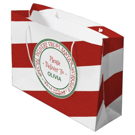 Santa's Workshop Christmas Large Gift Bag