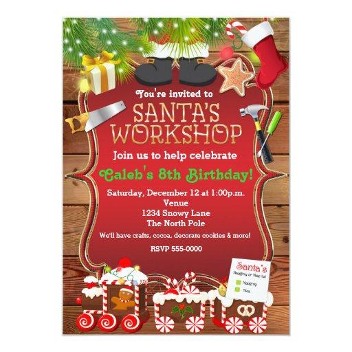 Santa's Workshop Christmas Party Invitation   Zazzle