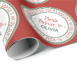"Santa's Workshop Christmas Wrapping Paper<br><div class=""desc"">This santa's workshop christmas wrapping paper is perfect for a kids holiday gift. The design features an official north pole seal with the words ""special delivery from santa's workshop - north pole"" in a festive red font. Personalize the wrapping paper with your child's name.</div>"