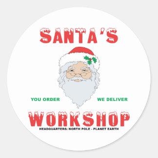 Santa's Workshop Classic Round Sticker