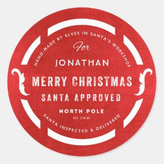 Santa's Workshop Merry Christmas North Pole Classic Round Sticker