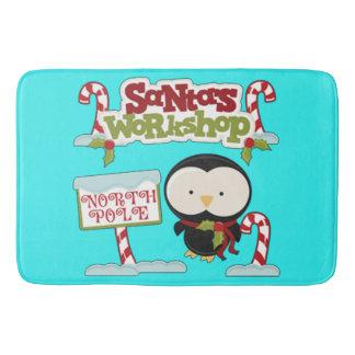 Santa's Workshop Penguin Bathroom Mat