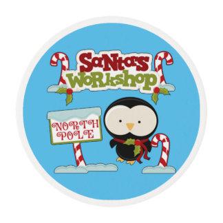 Santa's Workshop Penguin Edible Frosting Rounds