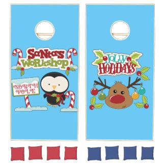 Santa's Workshop Penguin/Jolly Holidays Cornhole Set