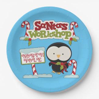 Santa's Workshop Penguin Paper Plate