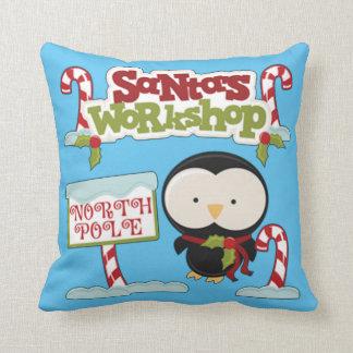 Santa's Workshop Penguin Throw Pillow
