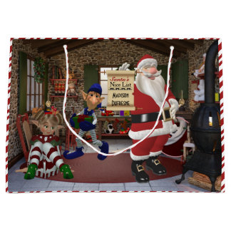 Santa's Workshop Personalized w/Child's Name Large Gift Bag