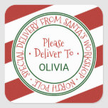 """Santa's Workshop Stripe Christmas Gift Square Sticker<br><div class=""""desc"""">These santa's workshop stripe christmas gift stickers are perfect for a kids holiday gift. The design features an official north pole seal with the words """"special delivery from santa's workshop - north pole"""" in a festive red font. Personalize the stickers with your child's name.</div>"""
