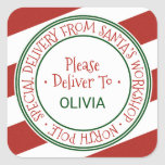 "Santa's Workshop Stripe Christmas Gift Square Sticker<br><div class=""desc"">These santa's workshop stripe christmas gift stickers are perfect for a kids holiday gift. The design features an official north pole seal with the words ""special delivery from santa's workshop - north pole"" in a festive red font. Personalize the stickers with your child's name.</div>"