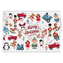 Santas Workshop Toys Elves Christmas Holiday Card