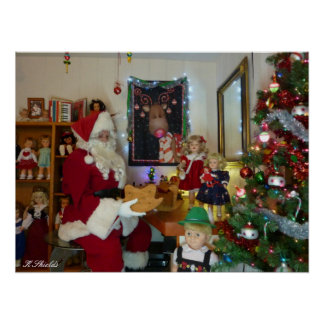 Santa's Workshop with Vintage dolls and toys Posters