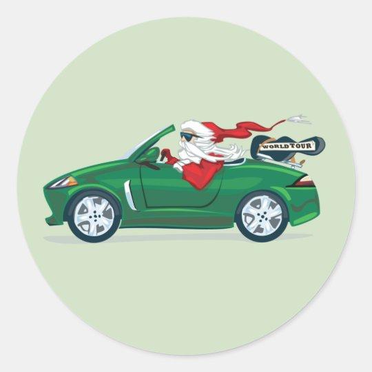 Santa's World Tour Convertible Classic Round Sticker
