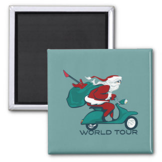 Santa's World Tour Scooter 2 Inch Square Magnet