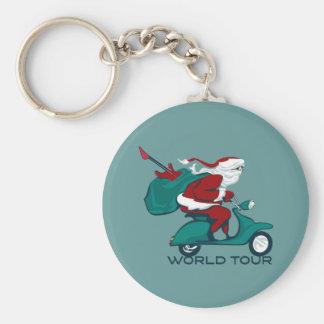 Santa's World Tour Scooter Basic Round Button Keychain