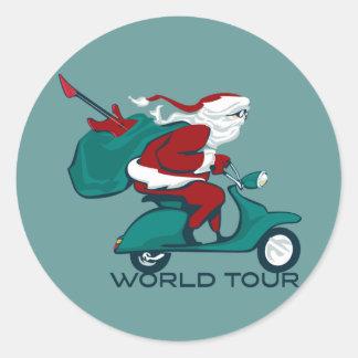 Santa's World Tour Scooter Classic Round Sticker