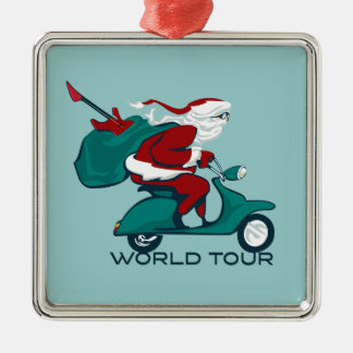 Santa's World Tour Scooter Metal Ornament