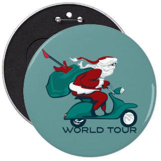 Santa's World Tour Scooter Pinback Button