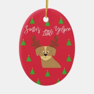Santa's Yelper Ceramic Ornament