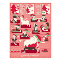 Santa's Yoga Workshop Christmas Postcard