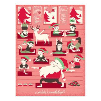 Santa's Yoga Workshop Christmas Postcard