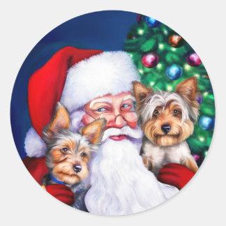 Santa's Yorkies at Christmas Classic Round Sticker