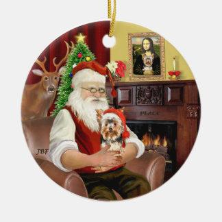 Santa's Yorkshire Terrier #17 Ceramic Ornament
