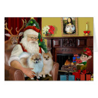Santa'sTwo Pomeranians Greeting Card