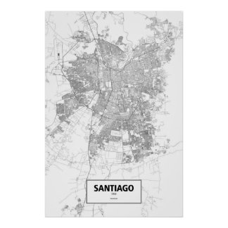 Santiago, Chile (negro en blanco) Póster