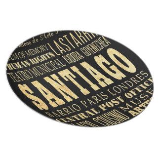 Santiago City of Chile Typography Art Melamine Plate