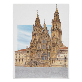 Santiago de Compostela. Western façade. Spain Poster