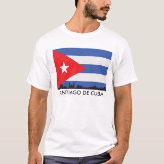 Santiago De Cuba Skyline Cuban Flag T-Shirt