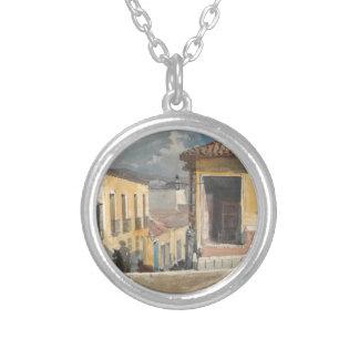 Santiago de Cuba, Street Scene by Winslow Homer Silver Plated Necklace