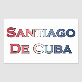 Santiago de Cuba Text Logo Rectangular Stickers