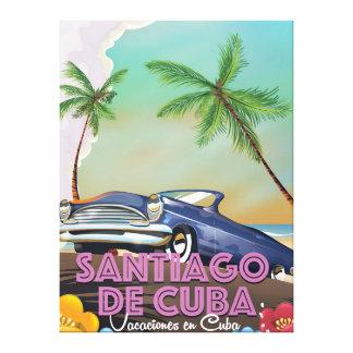 Santiago de Cuba Vintage travel poster Canvas Print