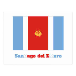Santiago del Estero flag with name Postcard