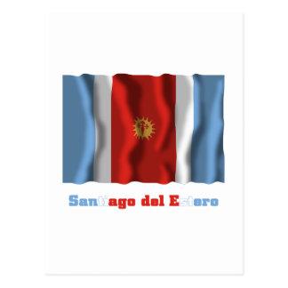 Santiago del Estero waving flag with name Postcard
