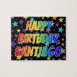 "[ Thumbnail: ""Santiago"" First Name, Fun ""Happy Birthday"" Jigsaw Puzzle ]"