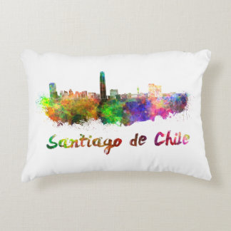 Santiago of Chile skyline in watercolor Accent Pillow