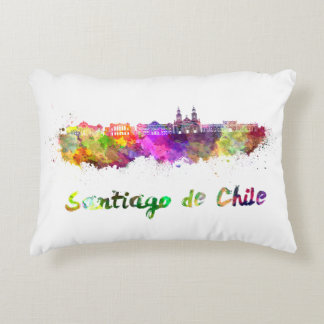 Santiago of Chile V2 skyline in watercolor Decorative Pillow