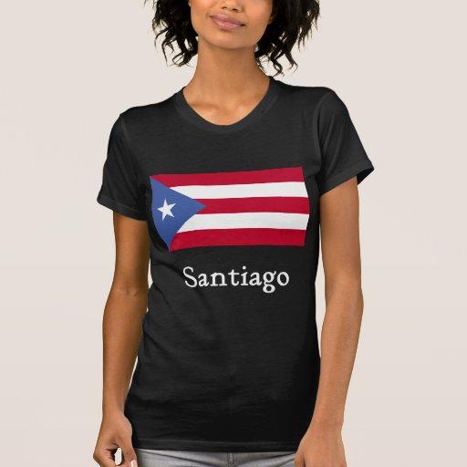 Santiago Puerto Rican Flag Blk Tee Shirt